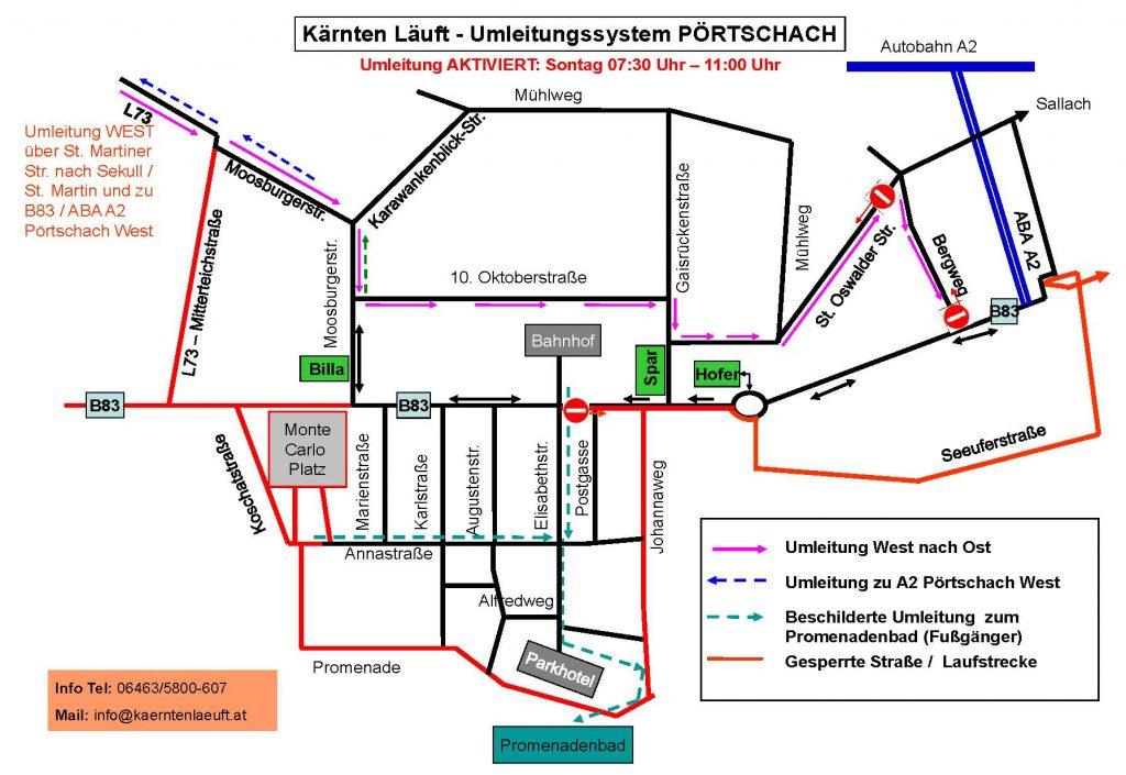 Sperren und Umleitungen Pörtschach Zentrum_050816