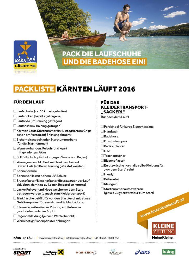 KL Packliste